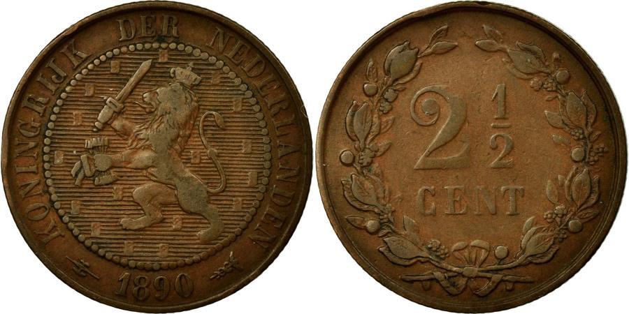 World Coins - Coin, Netherlands, Wilhelmina I, 2-1/2 Cent, 1890, EF(40-45), Bronze, KM:108.2