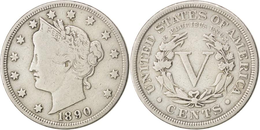 US Coins - UNITED STATES, Liberty Nickel, 5 Cents, 1890, U.S. Mint, KM #112, ,...