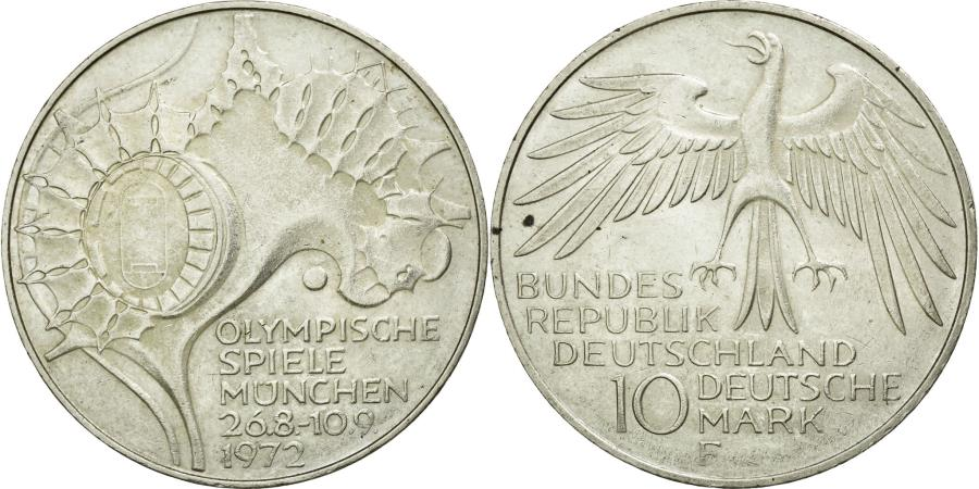 World Coins - Coin, GERMANY - FEDERAL REPUBLIC, 10 Mark, 1972, Stuttgart, MS(60-62), Silver