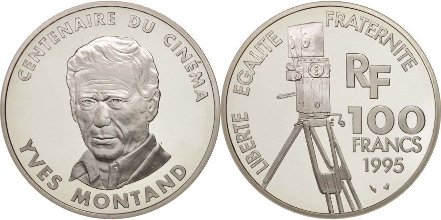 World Coins - France, 100 Francs, Yves Montand, 1995, Paris, , Silver, KM:1104
