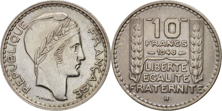 World Coins - France, Turin, 10 Francs, 1948, Beaumont - Le Roger, , Copper-nickel