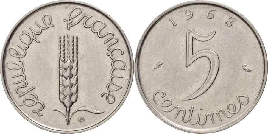 World Coins - France, Épi, 5 Centimes, 1963, Paris, , Stainless Steel, KM:927