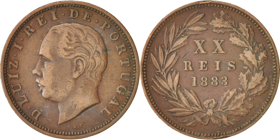 World Coins - Portugal, Luiz I, 20 Reis, 1883, , Bronze, KM:527