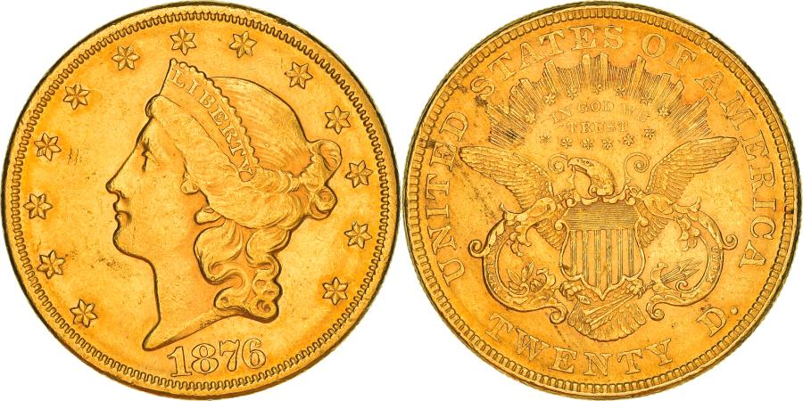 US Coins - Coin, United States, Liberty Head, $20, Double Eagle, 1876, U.S. Mint