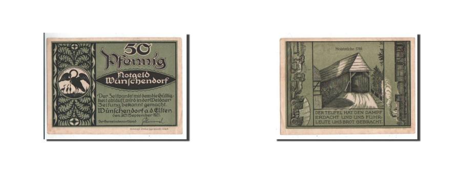 World Coins - Germany, Wünschendorf, 50 Pfennig, gare, 1921-09-20, UNC(65-70), Mehl:1457.1