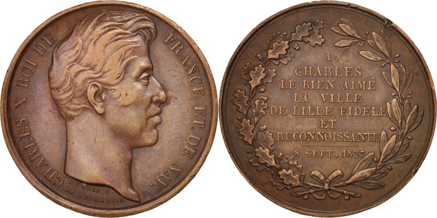 World Coins - France, Charles X, 1827, Token, Copper, Visit of Lille