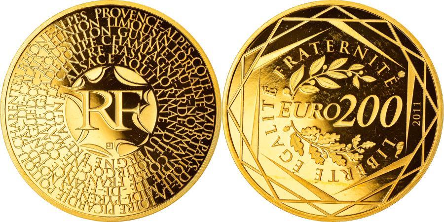 World Coins - France, 200 Euro, Euro des Régions, 2011, Paris, Proof, , Gold