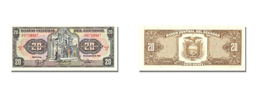 World Coins - Ecuador, 20 Sucres, 1988, KM #121Aa, 1988-11-22, UNC(65-70), LS