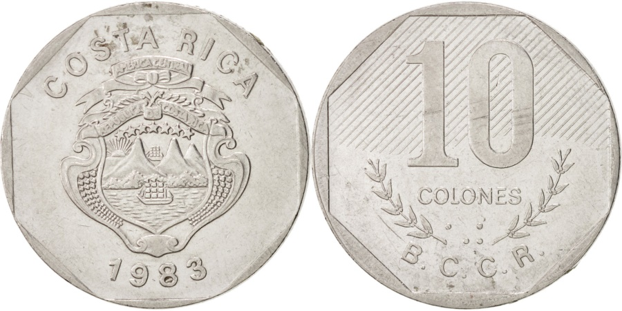 World Coins - Costa Rica, 10 Colones, 1983, KM:215.1, , Stainless Steel