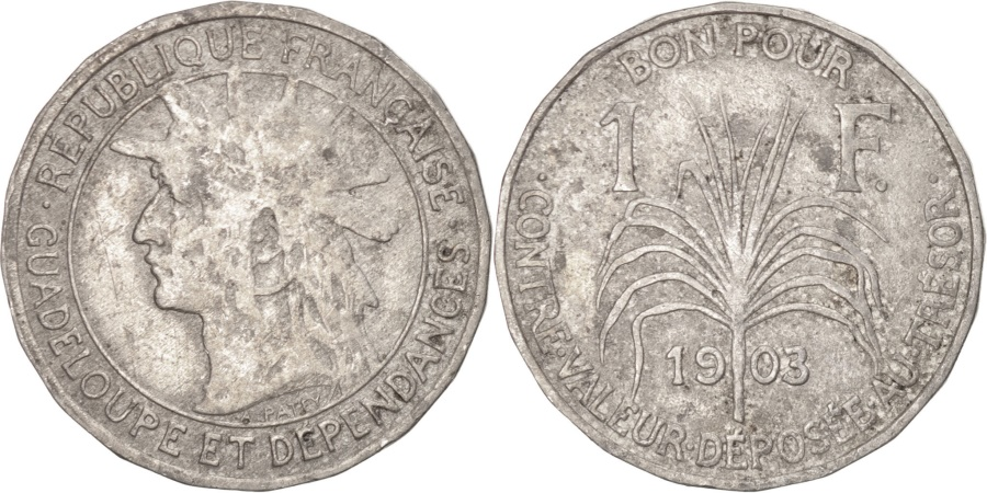 World Coins - GUADELOUPE, Franc, 1921, KM #46, , Copper-Nickel, 25, Lecompte #57,...