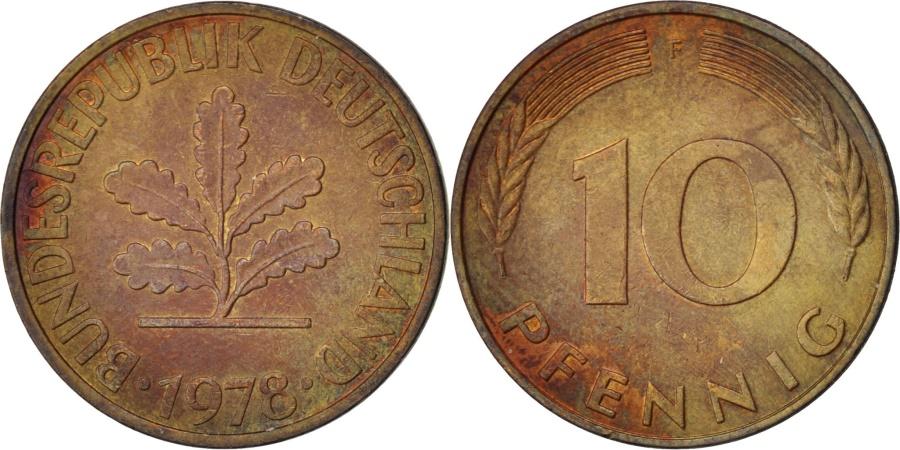 World Coins - GERMANY - FEDERAL REPUBLIC, 10 Pfennig, 1978, Stuttgart, KM #108, ,...