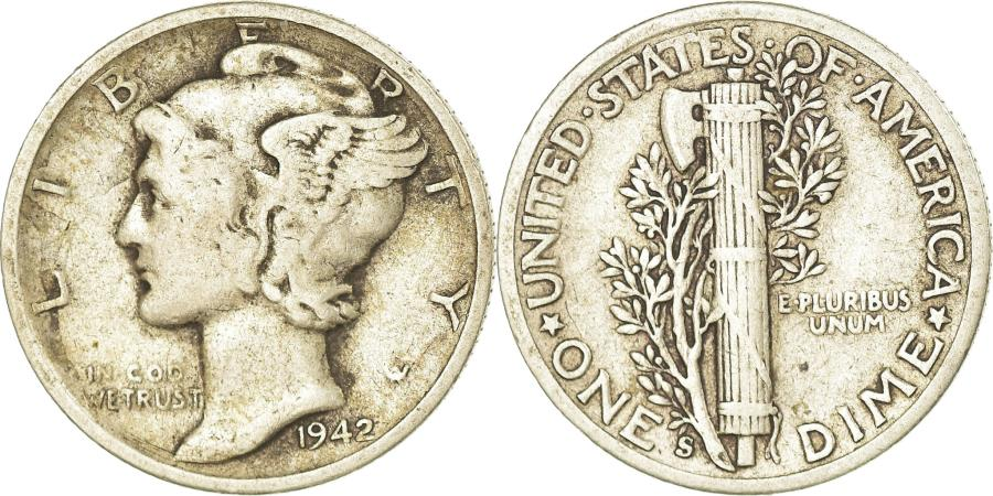 US Coins - Coin, United States, Mercury Dime, Dime, 1942, U.S. Mint, San Francisco