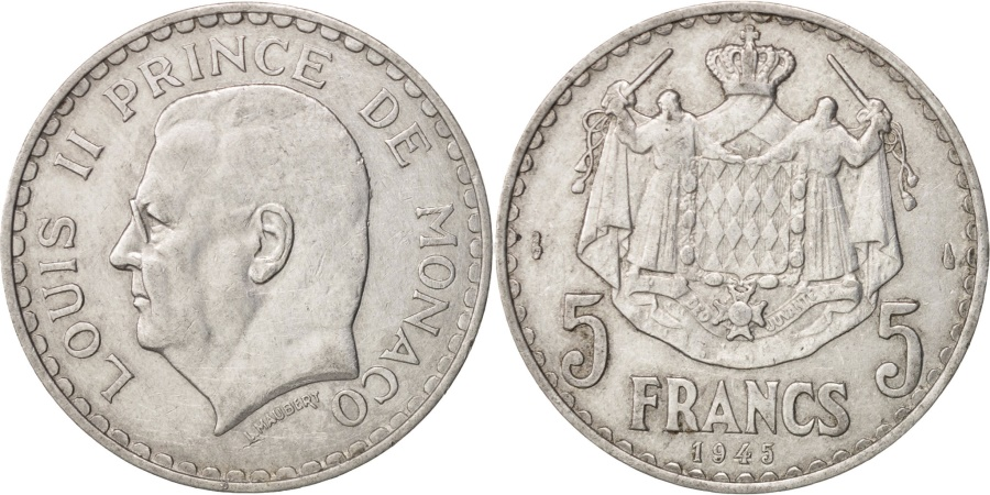 MONACO 5 FRANCS 1945