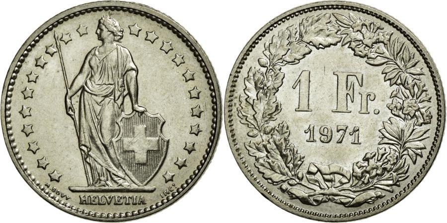 World Coins - Coin, Switzerland, Franc, 1971, Bern, AU(55-58), Copper-nickel, KM:24a.1