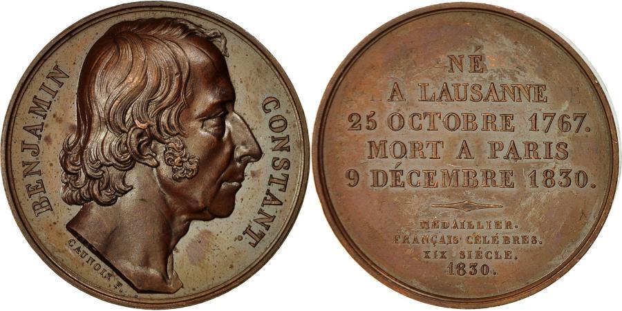 World Coins - France, Medal, Benjamin Constant, 1830, Caunois, , Copper