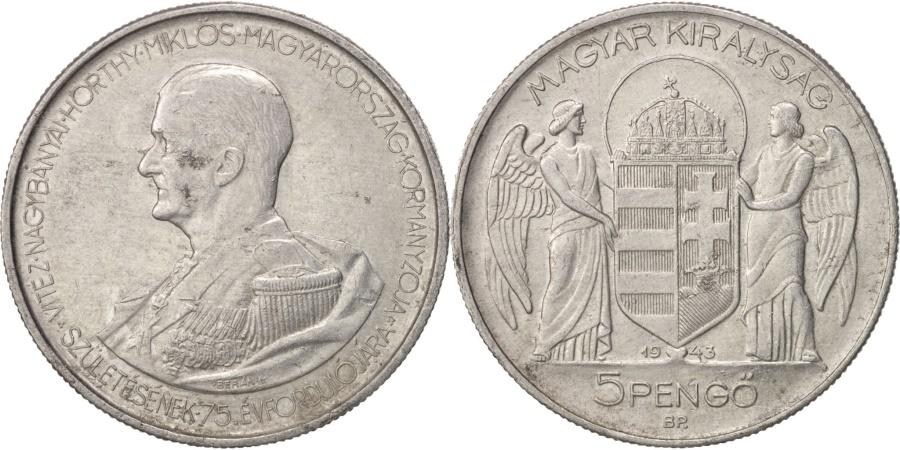 World Coins - Hungary, 5 Pengö, 1943, Aluminum, KM:523