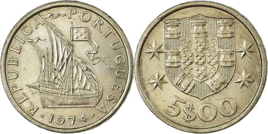 World Coins - Coin, Portugal, 5 Escudos, 1974, , Copper-nickel, KM:591