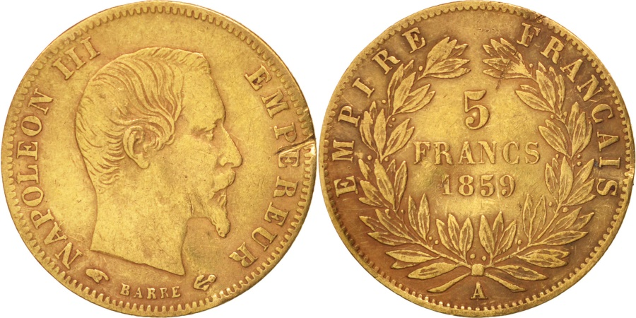 World Coins - France, Napoleon III, 5 Francs, 1859, Paris, , Gold, KM 787.1
