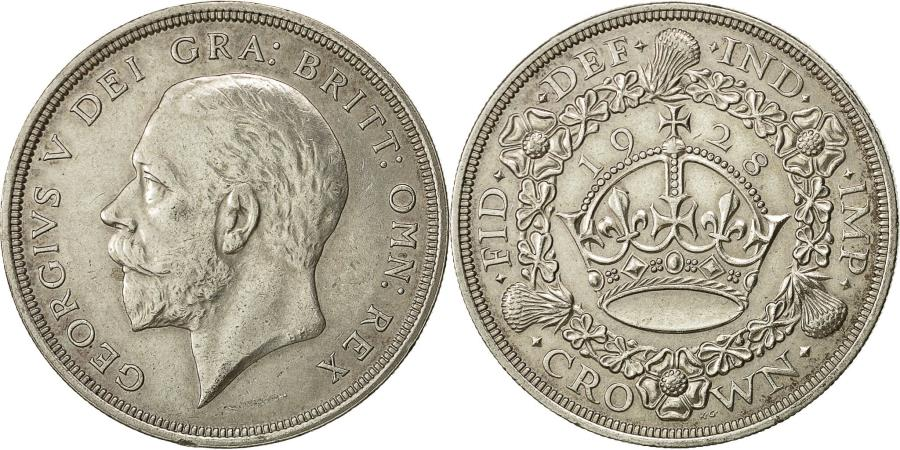 World Coins - coin, Great Britain, George V, Crown, 1928, EF(40-45), Silver, KM:836