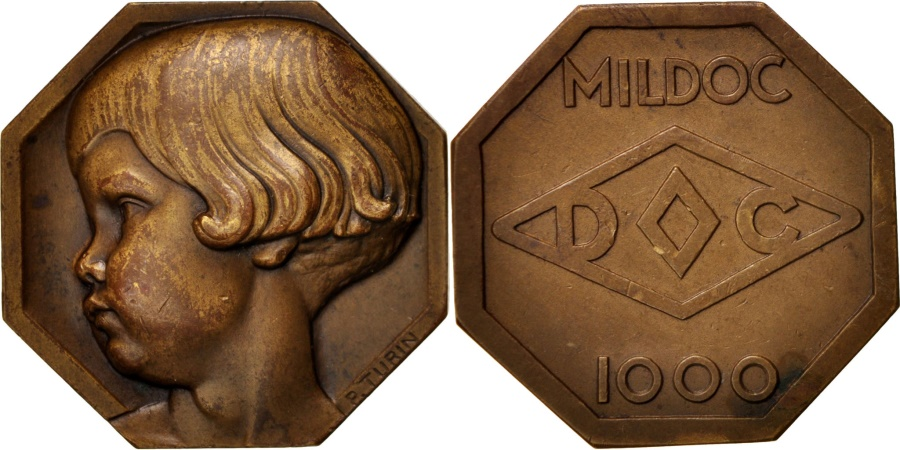 World Coins - France, Mildoc society, Young child, Business & industry, Medal,