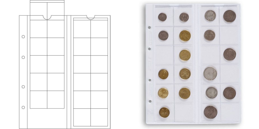 World Coins - Pages, Optima, 34 mm, Set of 5, Leuchtturm:319236