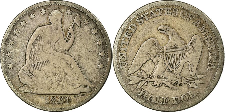 US Coins - Coin, United States, Seated Liberty Half Dollar, Half Dollar, 1861, U.S. Mint