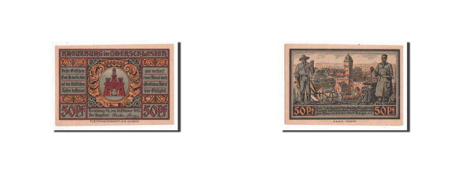 World Coins - Germany, Kreuzburg, 50 Pfennig, Ville, 1921, 1921-10-18, UNC(65-70), Mehl:744.2