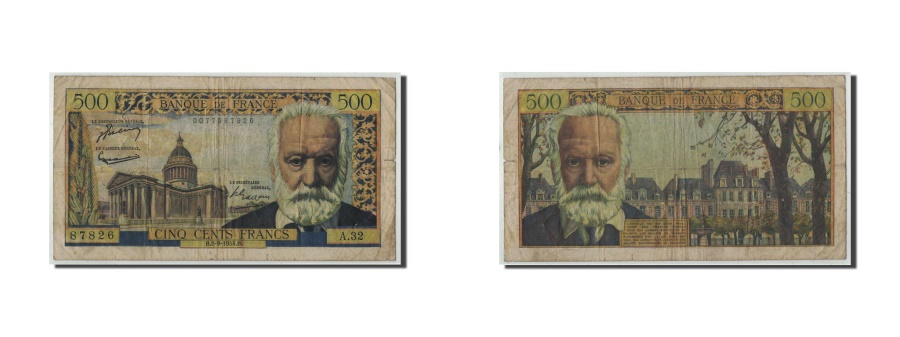 World Coins - France, 500 Francs Victor Hugo,1954-09-02, KM:133a, Fayette:35.3, VG(8-10)
