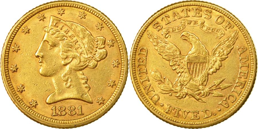 US Coins - Coin, United States, Coronet Head, $5,1881, Philadelphie,EF(50-53)),Gold, KM 101