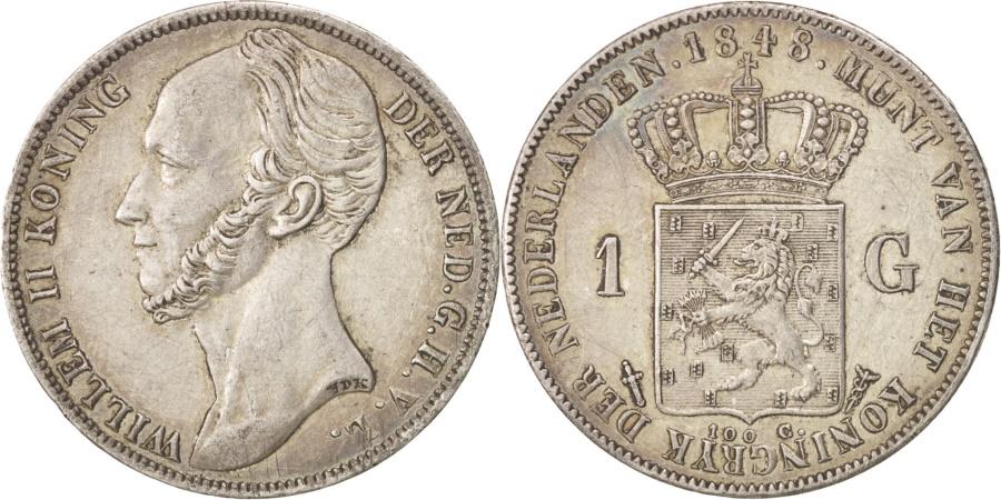 World Coins - Netherlands, William II, Gulden, 1848, Utrecht, , Silver, KM:66