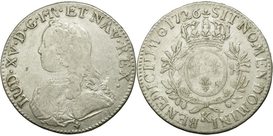 World Coins - Coin, France, Louis XV, Écu aux branches d'olivier, Ecu, 1726, Bordeaux
