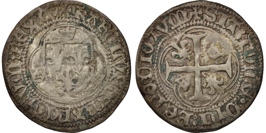 World Coins - France, Charles VII, Blanc à la couronne, Chinon, , Duplessy:519
