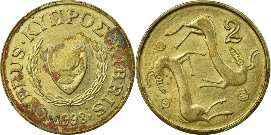 World Coins - Coin, Cyprus, 2 Cents, 1998, , Nickel-brass, KM:54.3