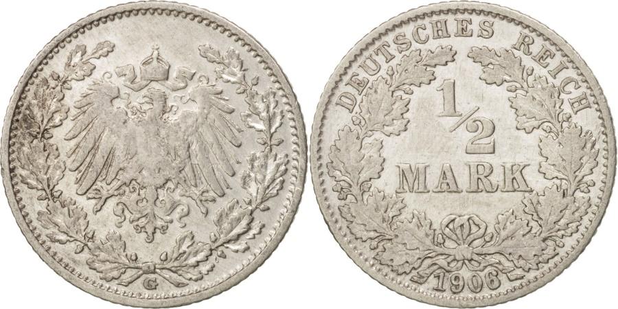 World Coins - GERMANY - EMPIRE, 1/2 Mark, 1906, Karlsruhe, , Silver, KM:17
