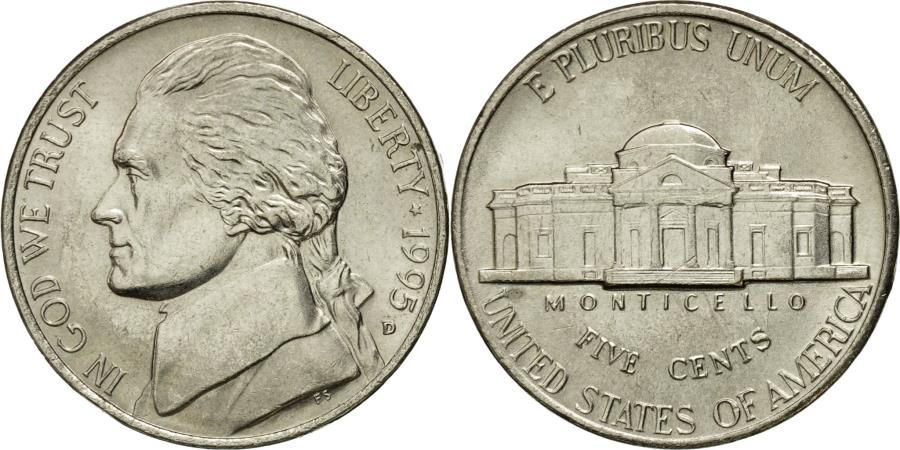 US Coins - Coin, United States, Jefferson Nickel, 5 Cents, 1995, U.S. Mint, Denver