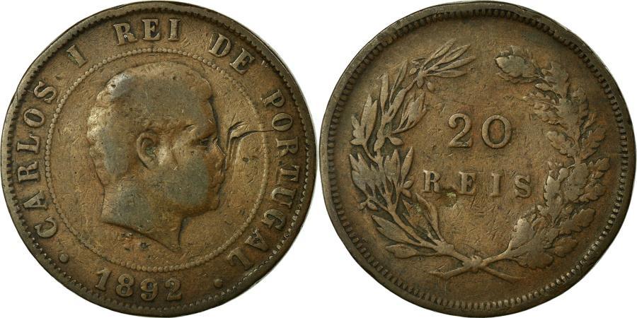 World Coins - Coin, Portugal, Carlos I, 20 Reis, 1892, , Bronze, KM:533