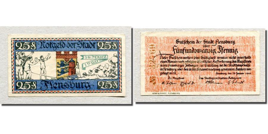 World Coins - Banknote, Germany, Flensburg, 25 Pfennig, N.D, 1920, 1920-01-16, EF(40-45)