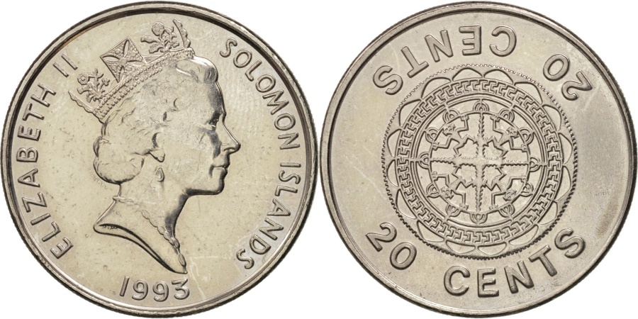 World Coins - Solomon Islands, Elizabeth II, 20 Cents, 1993, , Nickel plated steel