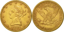 Us Coins - United States, Coronet Head, $10, 1897, Philadelphia, AU(50-53), Gold, KM 102
