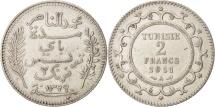 World Coins - Tunisia, Muhammad al-Nasir Bey, 2 Francs, 1911, Paris, AU(50-53), Silver, KM:239