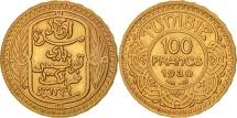 Tunisia, Ahmad Pasha Bey, 100 Francs, 1930, Paris, AU(55-58), Gold, KM:257