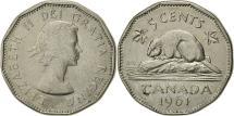World Coins - Canada, Elizabeth II, 5 Cents, 1961, Royal Canadian Mint, Ottawa, EF(40-45)