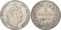 France, Louis-Philippe, 5 Francs, 1834, Bayonne, VF(20-25), Silver, KM:749.8