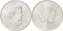 World Coins - Canada, 5 Dollars, 2014, AU(55-58), Silver