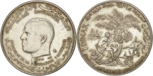 Tunisia, Dinar, 1970, Paris, EF(40-45), Silver, KM:302