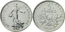 World Coins - France, Semeuse, 5 Francs, 2001, Paris, MS(65-70), Nickel Clad Copper-Nickel
