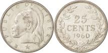 World Coins - Liberia, 25 Cents, 1960, AU(55-58), Silver, KM:16