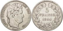France, Louis-Philippe, 5 Francs, 1834, Lille, VF(20-25), Silver, KM:749.13