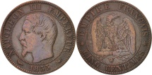 World Coins - France, Napoleon III, 5 Centimes, 1855, Lille, F(12-15), Bronze, KM 777.7