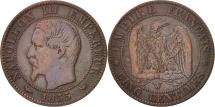 France, Napoleon III, 5 Centimes, 1855, Lille, F(12-15), Bronze, KM 777.7